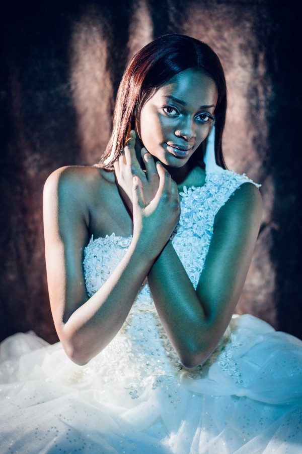 African beauty Eron in The Snapshot Cafe studio for a bridal portrait shoot.