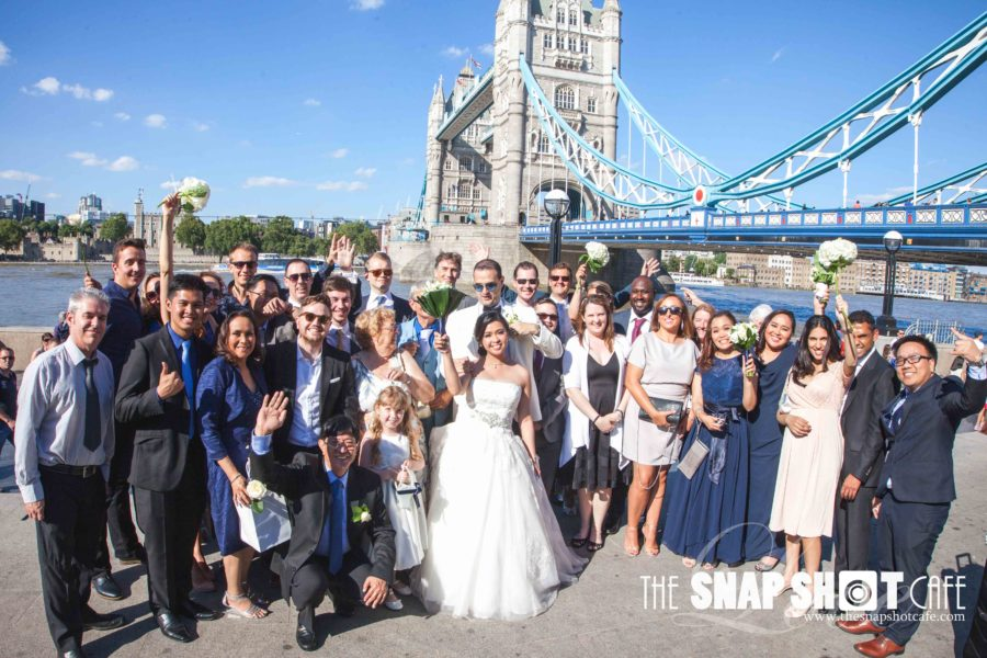 Wedding in Tower bridge, London. Group photo